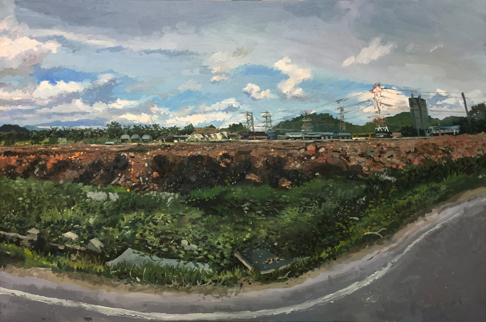 View from the Car, 2018, Oil on canvas, 51 x 76 cm