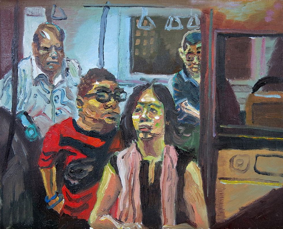 Alighting The Bus, 2020, Oil on canvas, 23 x 28.6cm  Private Collection, Singapore