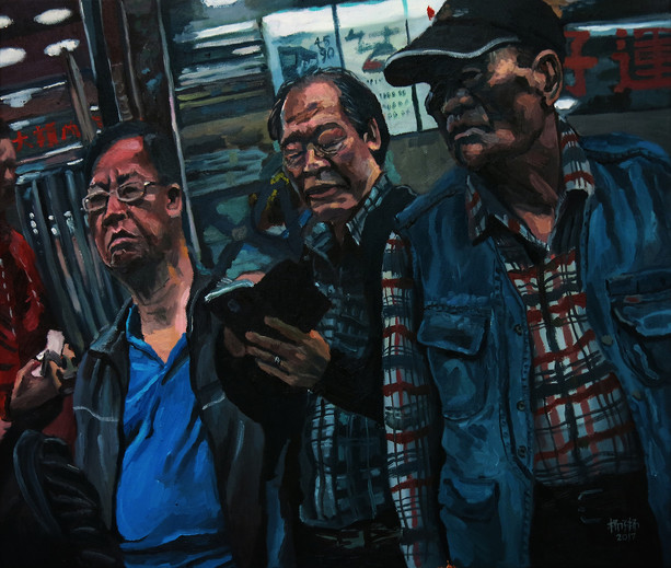Three Uncles, 2017, Oil on canvas, 45.5 x 61cm  Private Collection, Singapore