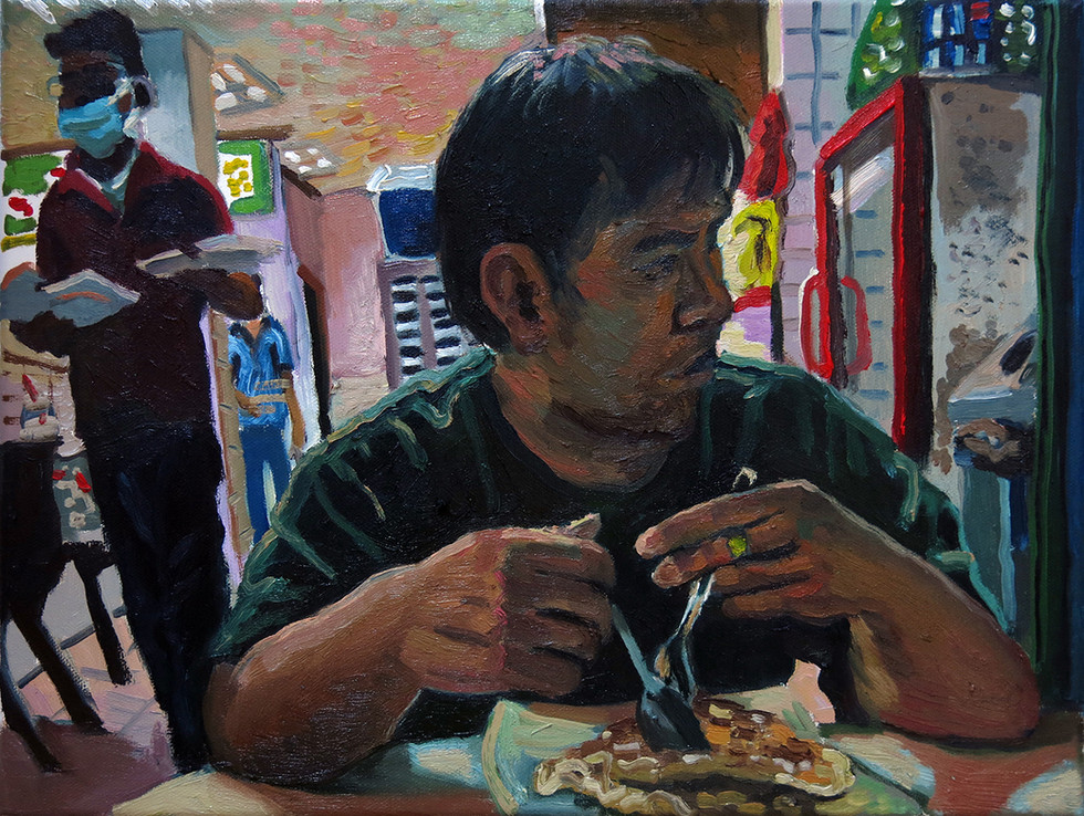 Late Dinner, 2020, Oil on canvas, 30.5 x 40.6  Private Collection, Singapore
