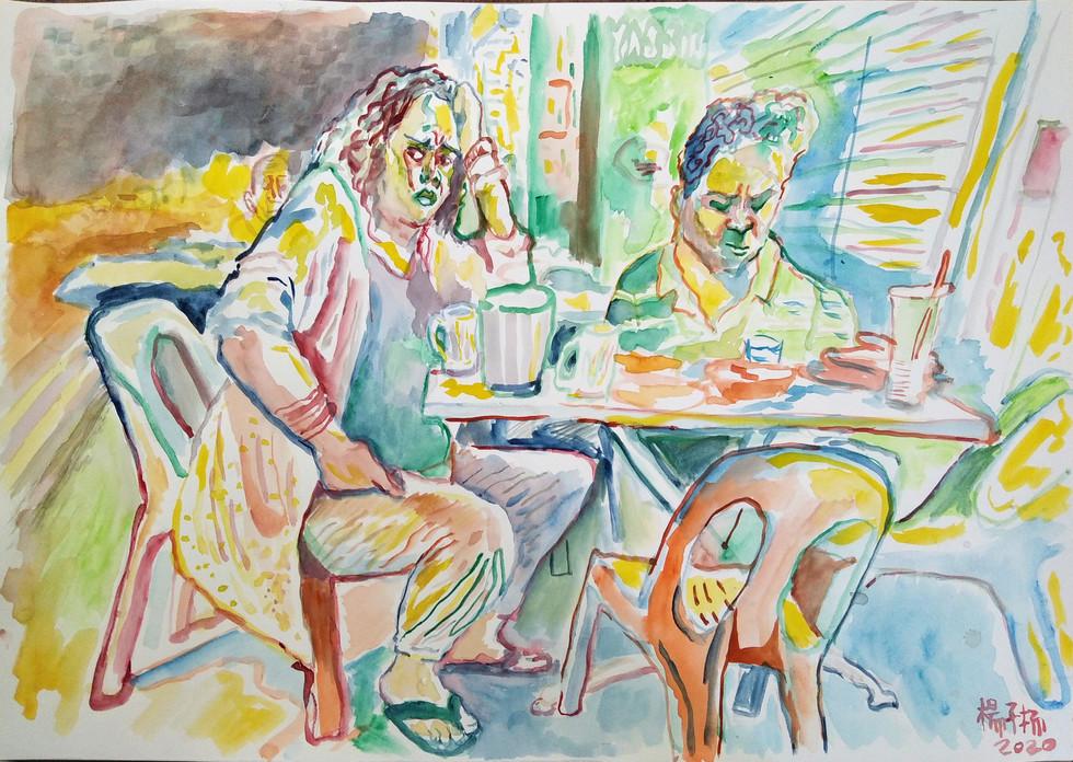 Worry, 2020, Watercolour on paper, 42cm x 59.4cm