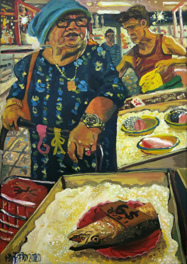 Buying Fish, 2020, oil on canvas, 59.4 cm x 29 cm   Private Collection, Singapore