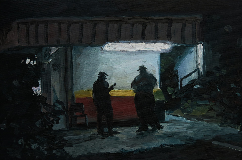 Smoke Break, 2016, Oil on canvas, 20 x 31 cm  Private Collection, Malaysia