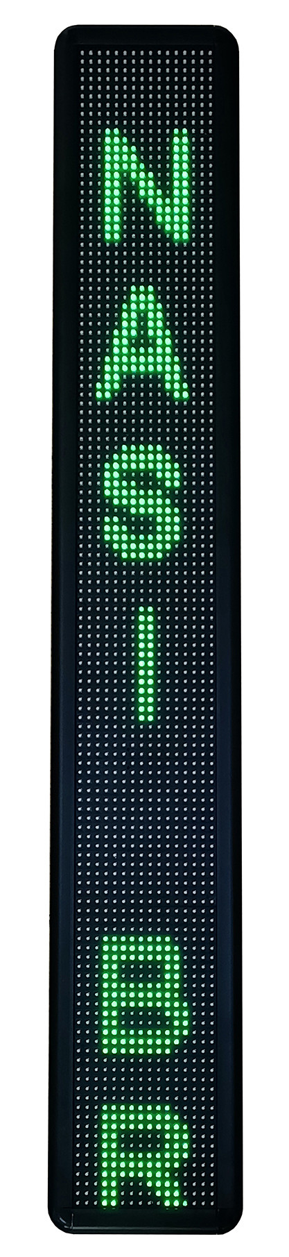 They Move on Tracks of Never-Ending Light, 2021, LED signboard in acrylic casing, 100 x 16 x 6cm