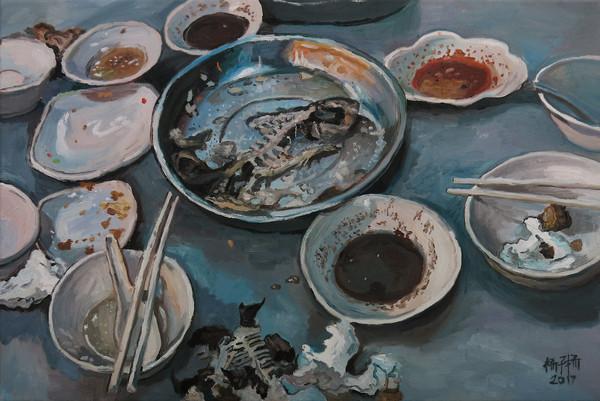 Porridge Supper, 2017, Oil on canvas, 51 x 76 cm  Private Collection, Malaysia