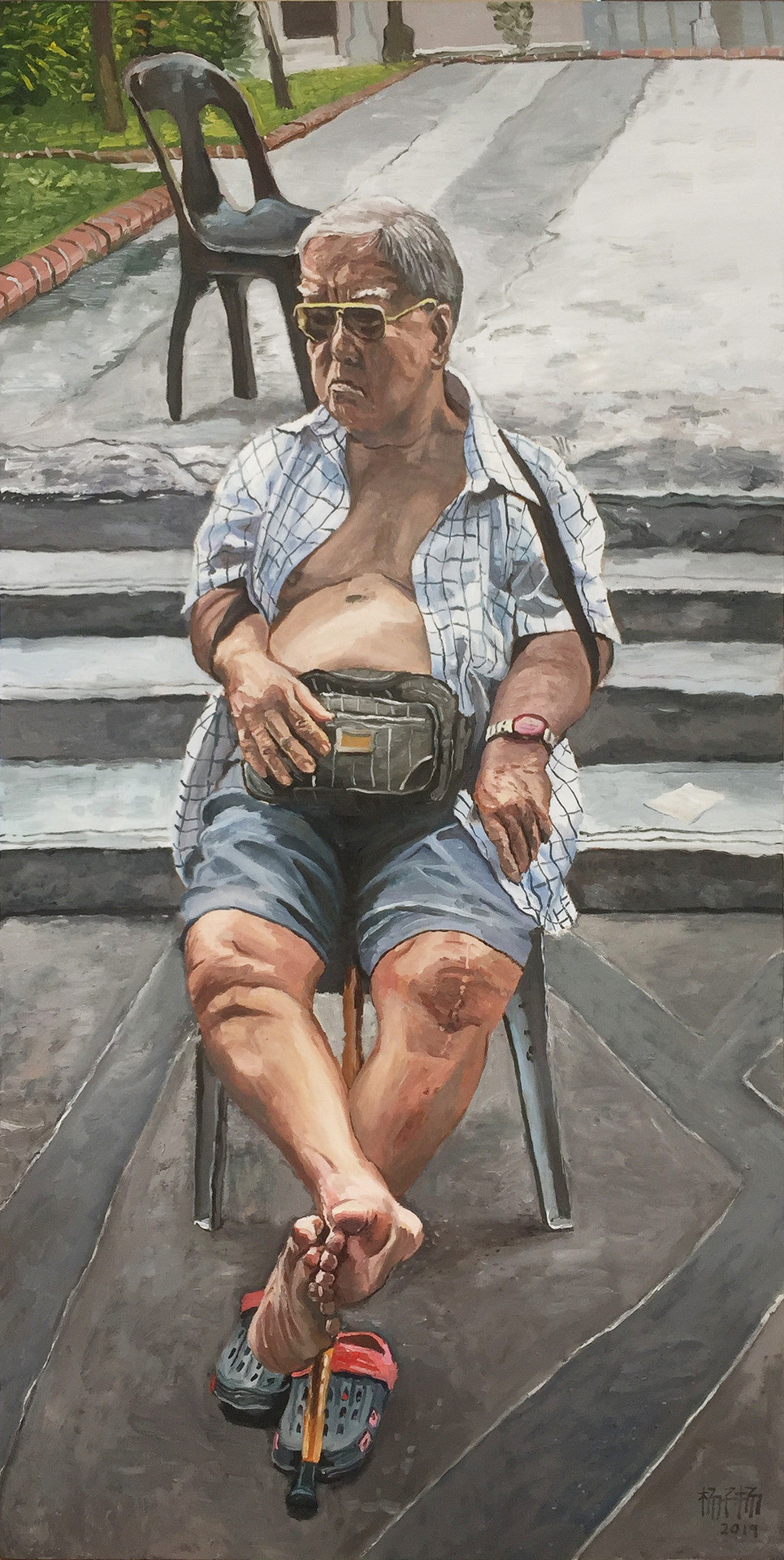 Old Man Sitting, 2019, Oil on canvas, 180 x 90cm  Private Collection, Singapore