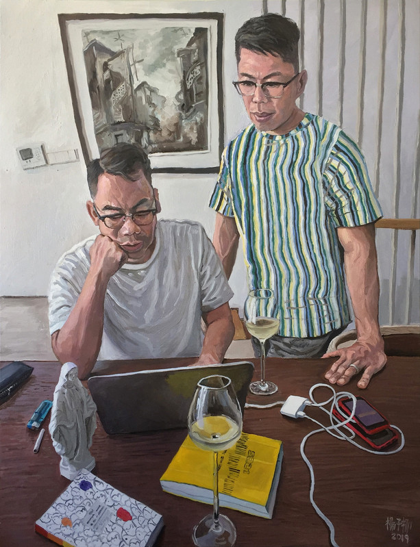 Rizal and Peter, 2019, Oil on canvas, 122 x 92cm (Commission)  Private Collection, Singapore