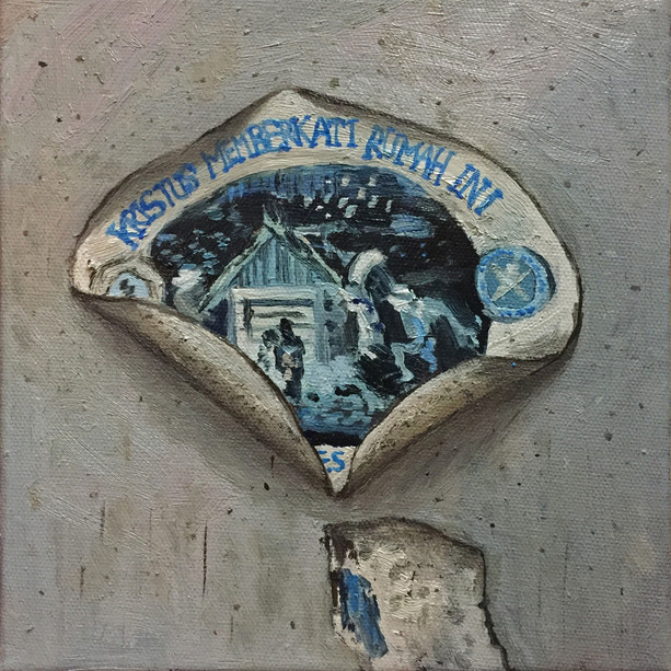 Sticker (Kristus Memberkati Rumah Ini) (Christ Blesses This House), 2018, Oil on canvas, 20 x 20 cm  Private Collection, Malaysia