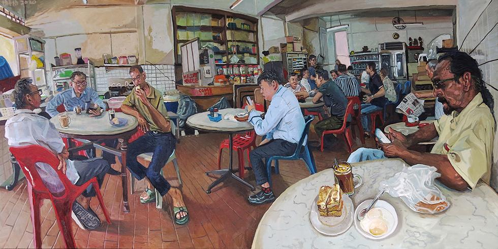 Kopitiam (Heap Seng Leong), 2020, Oil on canvas, 100 x 200cm (Commission)  Private Collection, Singapore