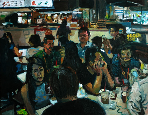 Chitchat, 2016, Oil on canvas, 36 x 46cm  Private Collection, Singapore