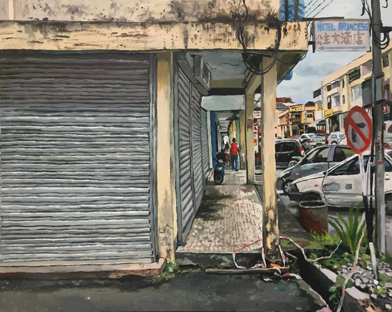 Shutters, 2018, Oil on canvas, 61 x 76.5 cm  Private Collection, Malaysia