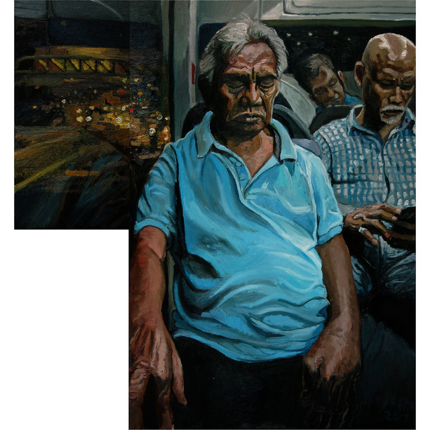 Night Bus, 2017, Oil on canvas, 40 x 20cm, 76 x 51cm (Two panels)  Private Collection, Singapore