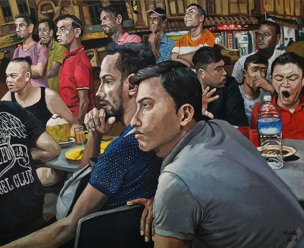 Spectators, 2018, Oil on canvas, 122 x 152cm  Private Collection, Singapore
