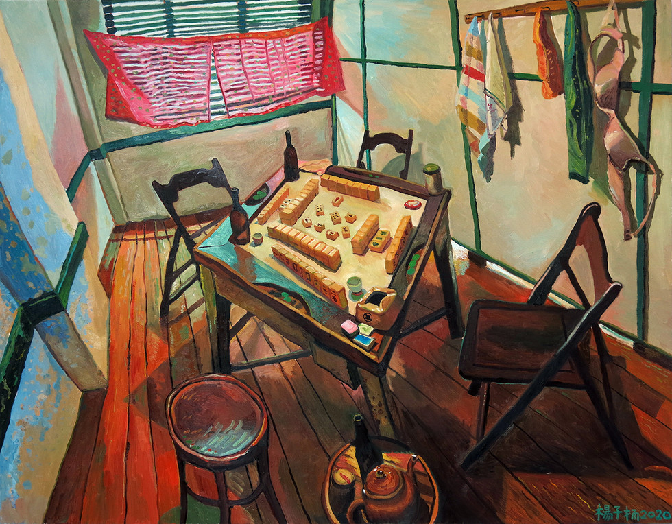 Mahjong Table, 2020, Oil on canvas, 120 x 150cm (Commission)  Private Collection, Malaysia