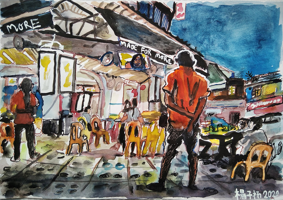 Coffee Shop Evening, 2020, Mixed media on paper, 21 x 29.7cm  Private Collection, Denmark