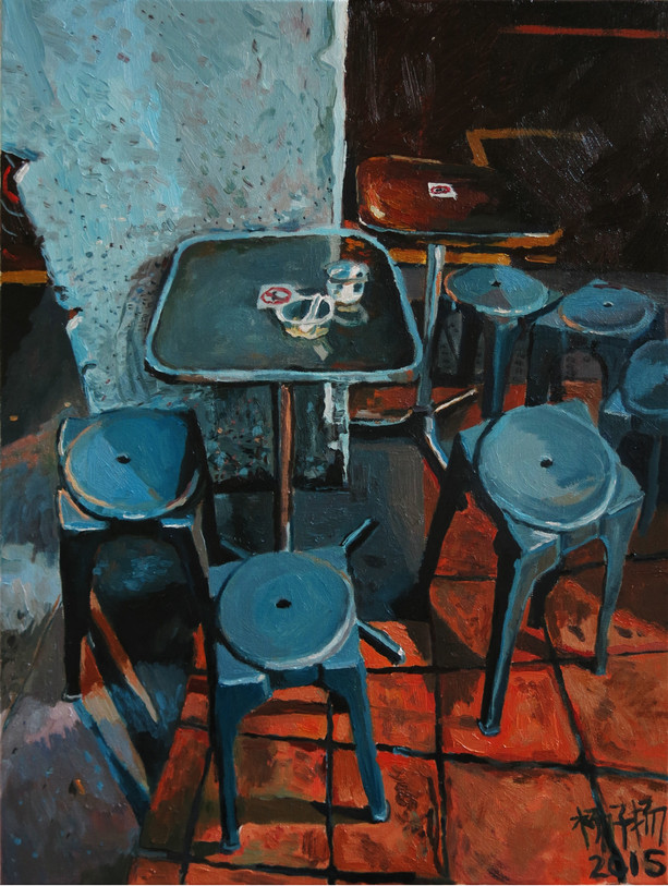 Supper, 2015, Oil on canvas, 45.7 x 62cm  Private Collection, Singapore