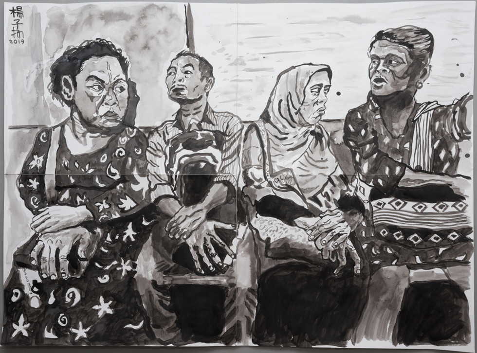 Passengers, 2019, Acrylic and watercolour on paper, 59.4 x 76.2cm