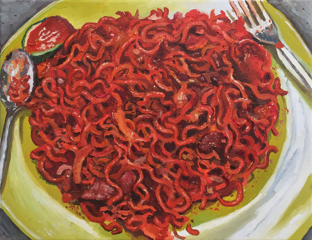 Maggi Goreng, 2018, 30.5cm x 41cm, Oil on canvas  Private Collection, Malaysia