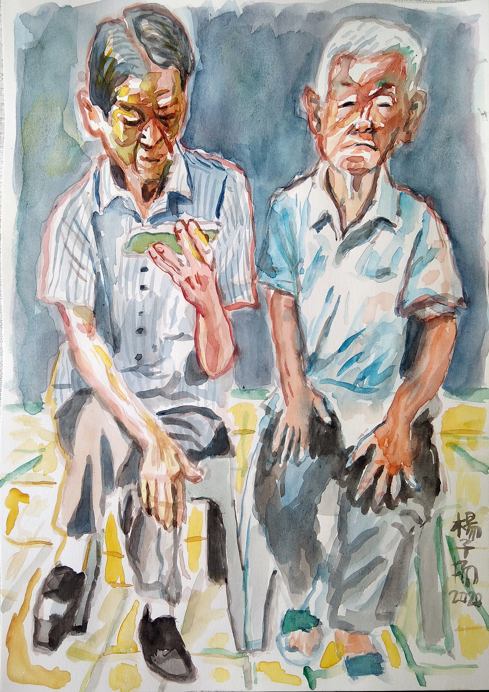 Two Old Men, 2020, Watercolour on paper, 29.7 x 21cm
