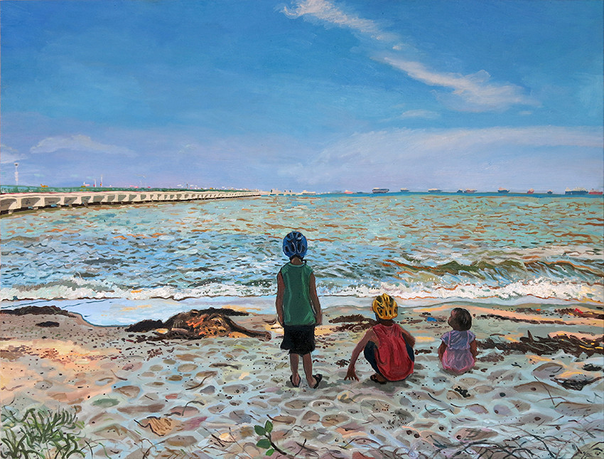 Children At The Beach, 2020, Oil on canvas, 92 x 122cm (Commission)  Private Collection, Singapore.