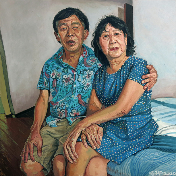 Mr and Mrs Lau, 2020, 92 x 92cm, Oil on canvas (Commission)  Private Collection, Singapore