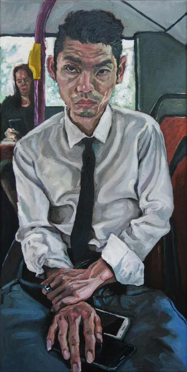 Man on a Bus, 2018, Oil on canvas, 61 x 30 cm  Private Collection, Malaysia