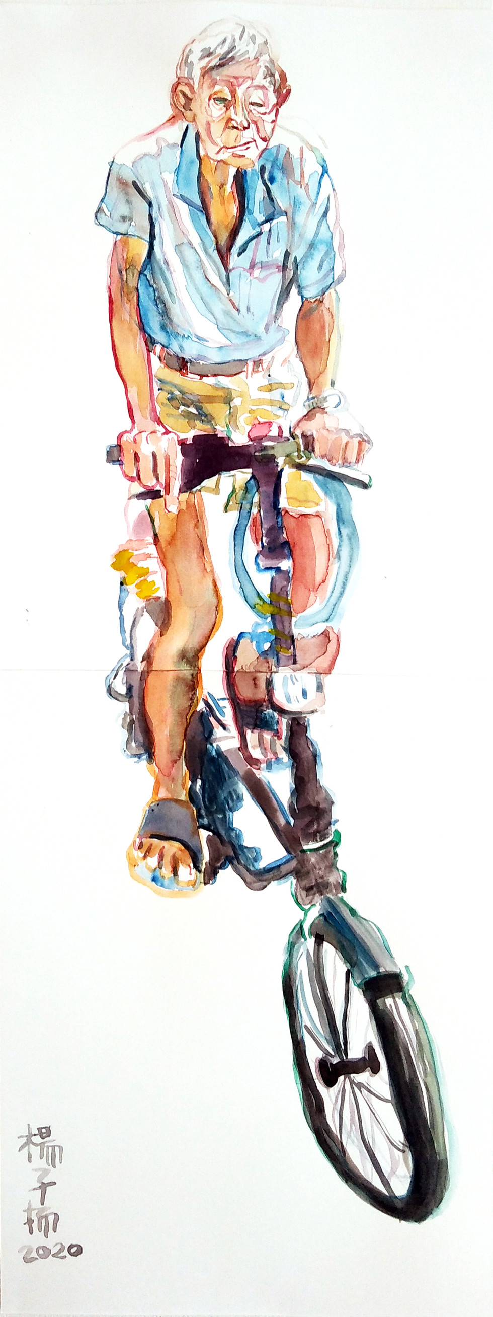 Man on a Bicycle, 2020, Watercolour on paper, 59.4 x 21cm  Private Collection, Malaysia/The Philippines