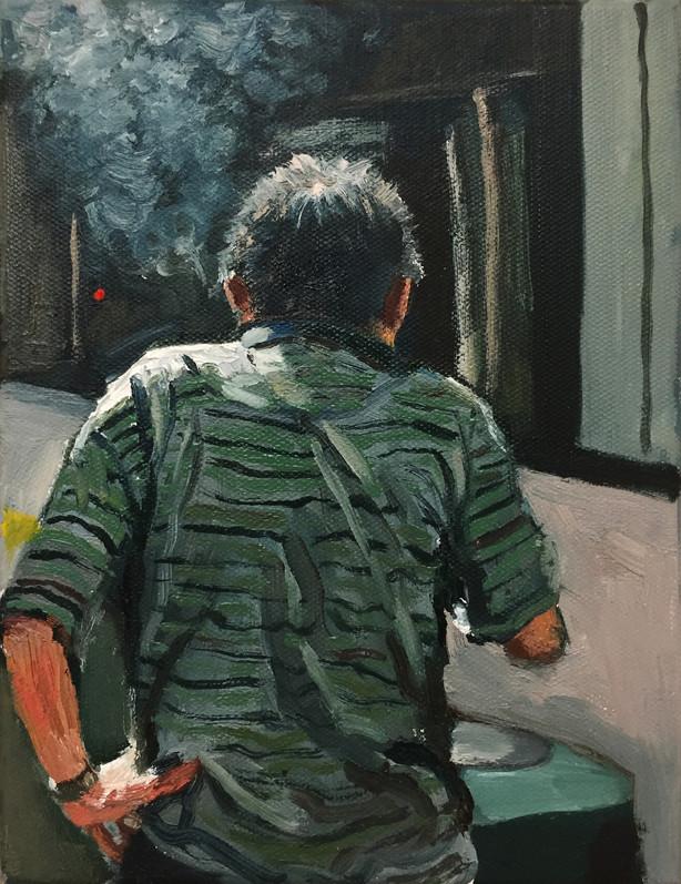 Green Striped Shirt, 2017, Oil on canvas, 15 x 20 cm