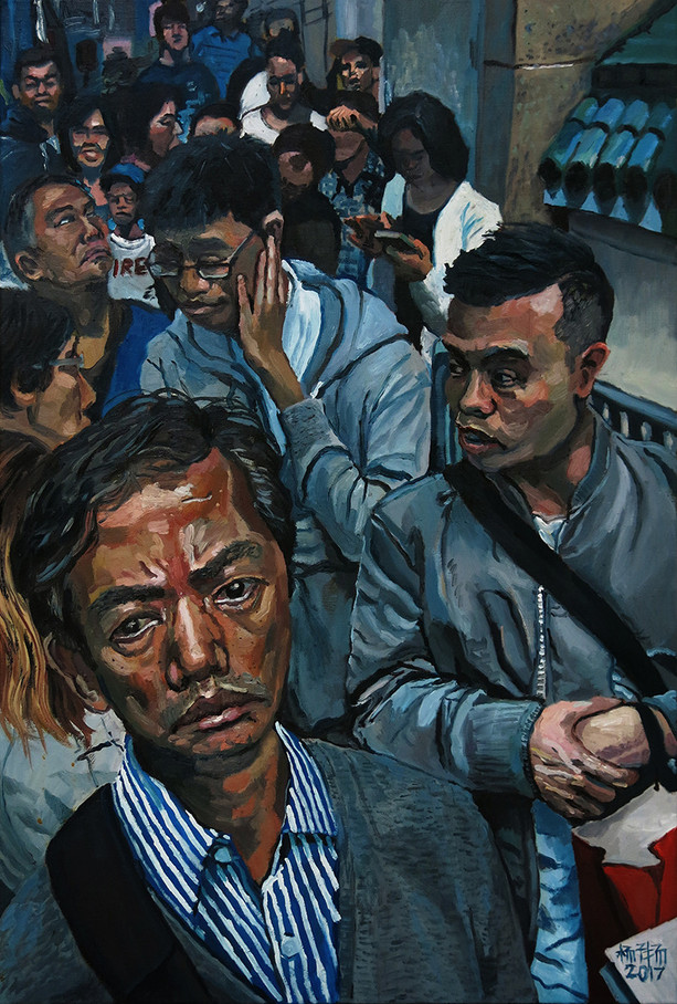 Queue, 2017, Oil on canvas, 61 x 91cm  Private collection, Singapore