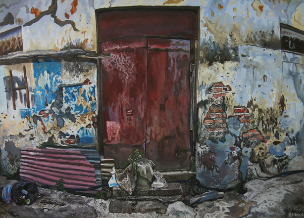 Red Door, 2020, Oil on canvas, 140 x 200cm (Commission)  Private Collection, Singapore and Malaysia