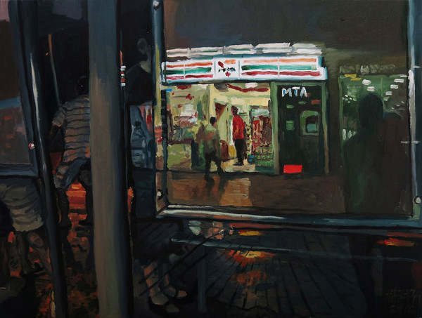 Behind the Bus Stop, 2016, Oil on canvas, 46 x 61 cm