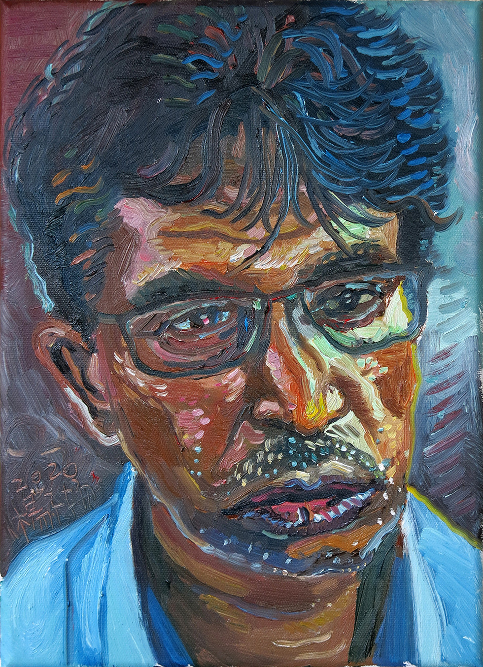 Study of Head of a Man, 2020, Oil on canvas, 35.6x 25.4cm  Private Collection, Singapore