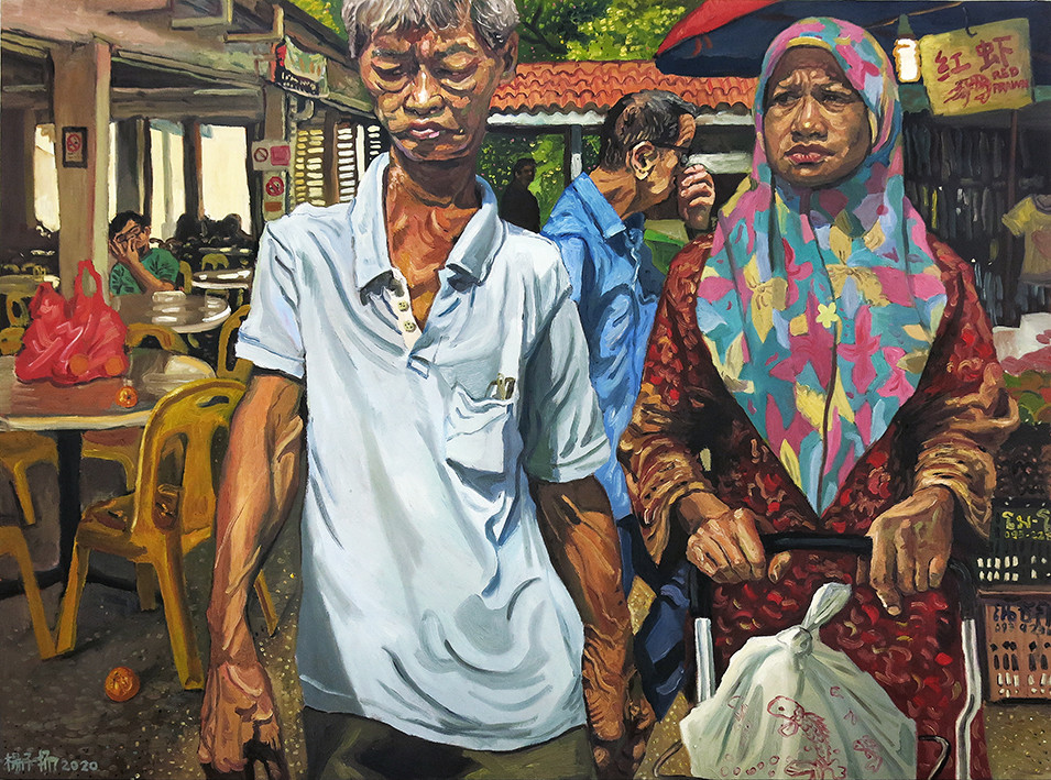 Late Morning At The Market, 2020,Oil on canvas, 92 x 122cm  Private Collection, Singapore