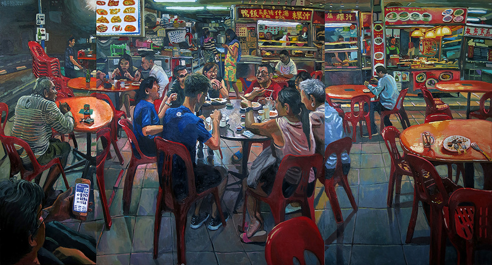 Last Night At The Coffee Shop, 2021, Oil on canvas, 135 x 250cm (3 panels) (Commission)  Private Collection, Switzerland/Singapore