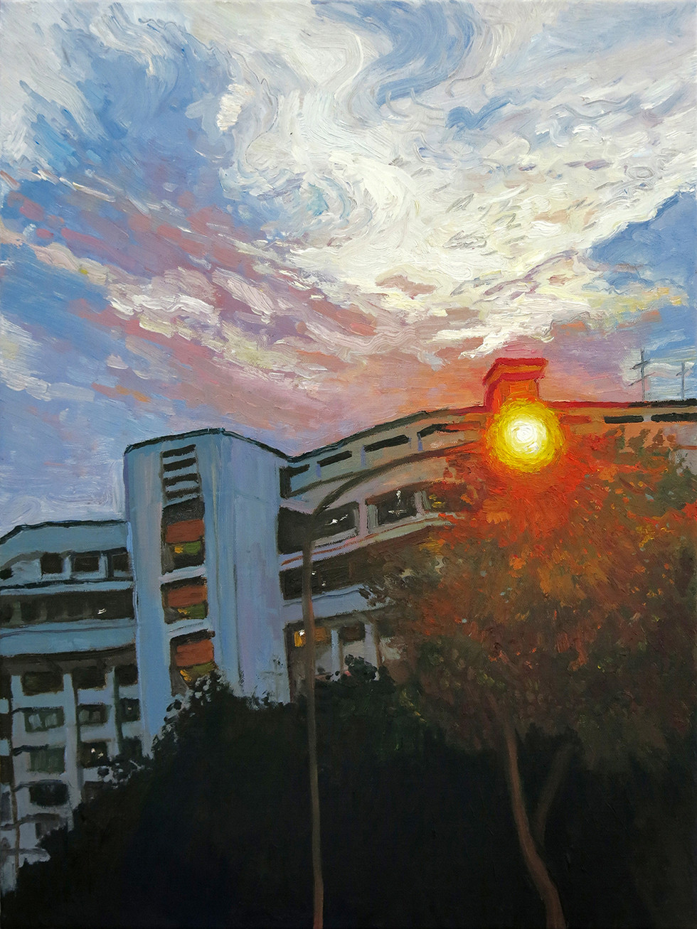Street Lamp, 2020, Oil on canvas, 46 x 36cm  Private Collection, Singapore