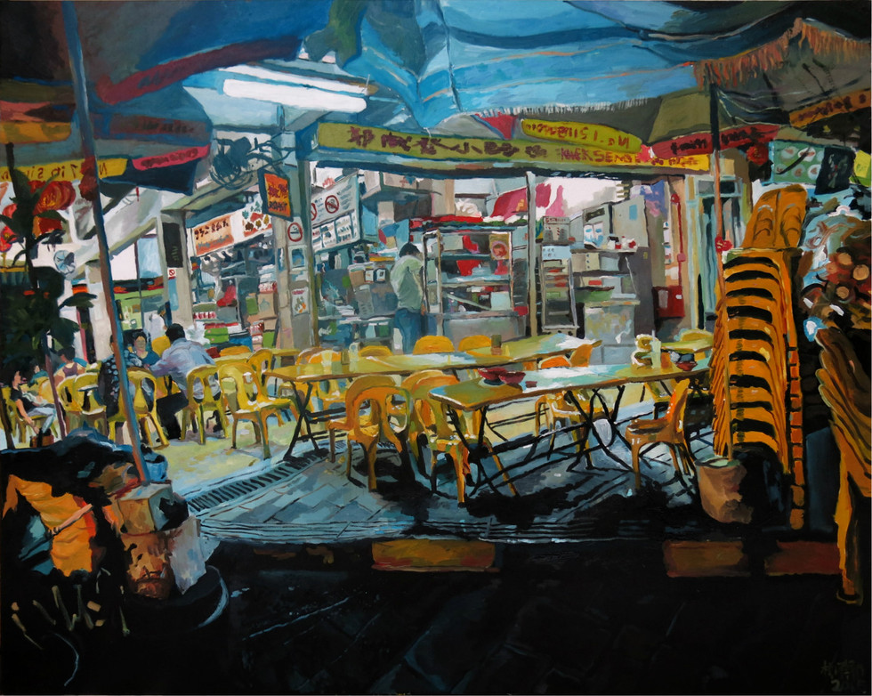 Closing Shop, 2015-2016, Oil on canvas, 122 x 152cm  Private Collection, Singapore