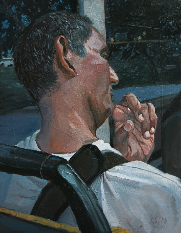 Tilt, 2018, Oil on canvas, 46 x 36 cm