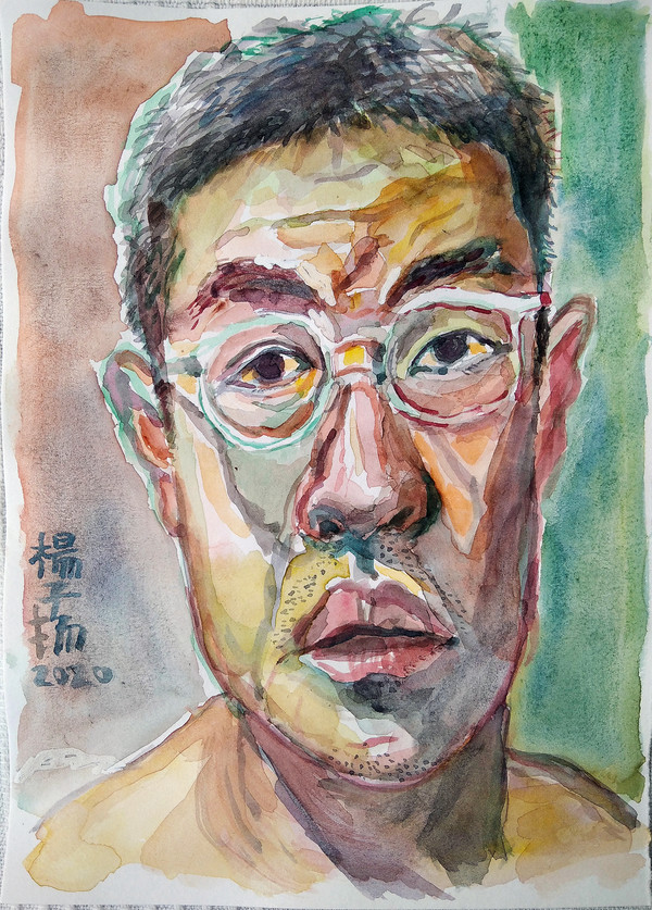Self Portrait, 2020, Watercolour and correction fluid on paper, 21 x 14.9cm