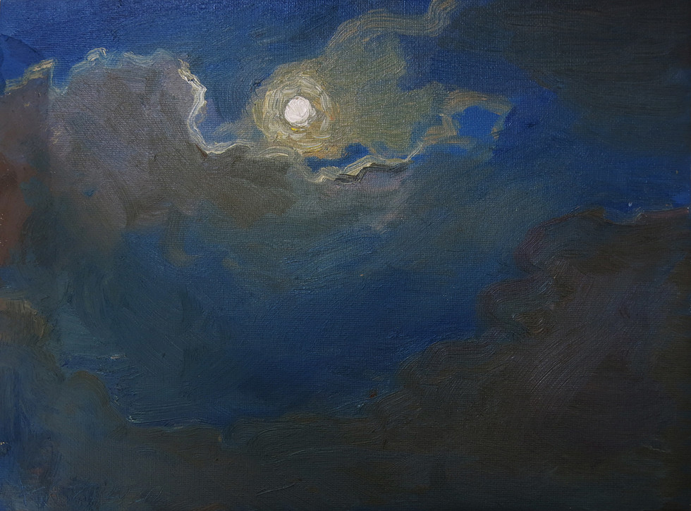 The Moon, 2020, Oil on canvas, 23 x 30cm  Private Collection, Singapore