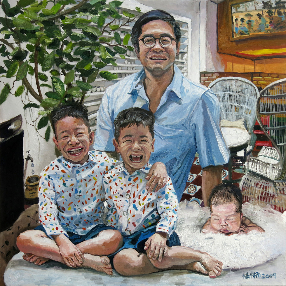 Ken, Teddy, Baz and Maddie, 2019, Oil on canvas, 90 x 90cm (Commission)  Private Collection, Singapore