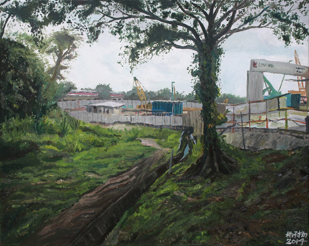 Landscape with Cranes and MRT, 2014, Oil on canvas, 76 x 60.5 cm