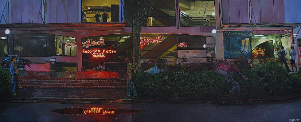 7:23PM, 2020, Oil on canvas, 164 x 412.5cm (2 panels)