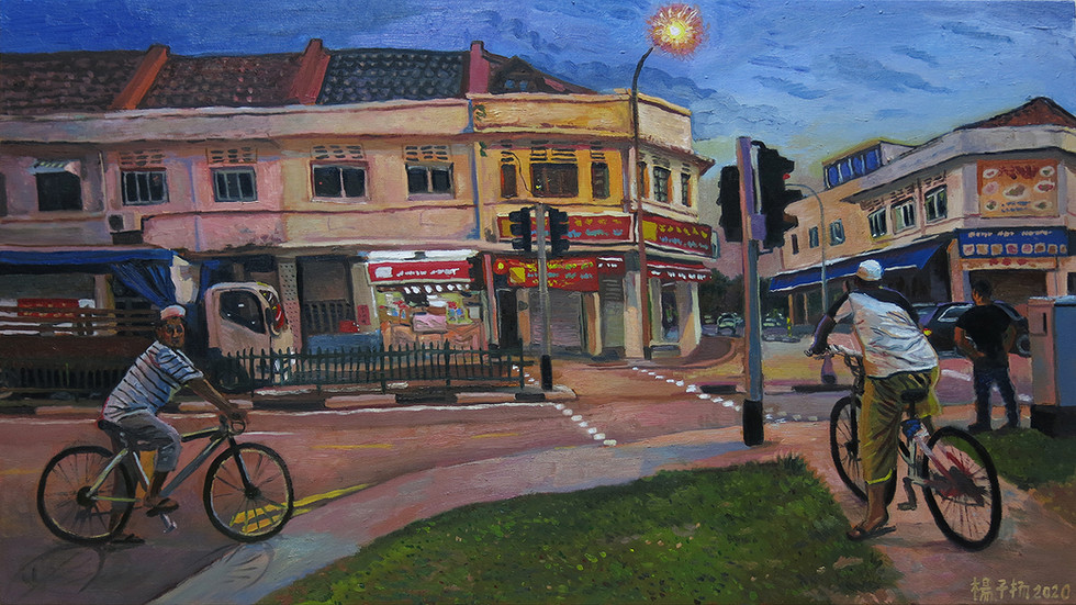 Cyclists, 2020, Oil on canvas, 55 x 100cm  Private Collection, Singapore