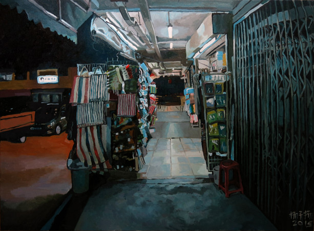 Shop at Night, 2015, Oil on canvas, 122 x 92 cm  Private Collection, Singapore