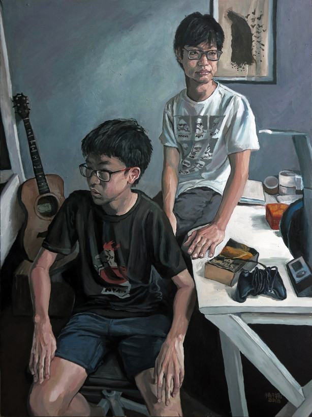 Mark and Nicholas, 2018, Oil on canvas, 122 x 92cm (Commission)  Private Collection, Singapore