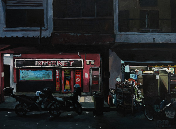 Internet Cafe, 2016, Oil on canvas, 46 x 61 cm  Private Collection, Singapore