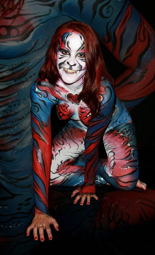 Red and blue tiger bodypaint