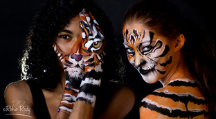 Tiger face and body paint