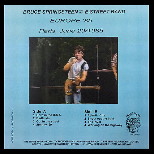 BRUCE SPRINGSTEEN LP Europe 85 Paris June 29/1985 (With Bruce Calendar)