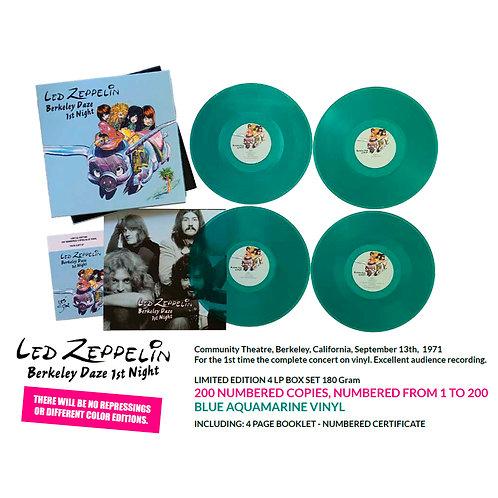 LED ZEPPELIN BOX SET 4xLP Berkeley Daze 1st Night (Blue Coloured Numbered Vinyl)